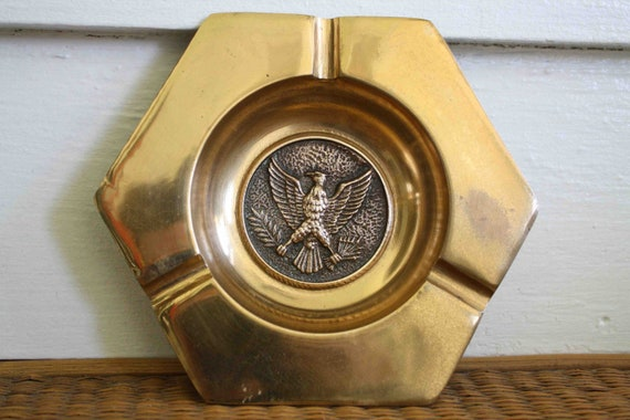 Brass eagle ash tray, vintage ash tray, solid brass