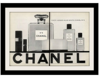 1969 CHANEL No. 5 Perfume Classic Bottle Cologne Ad, Vintage Advertising Print