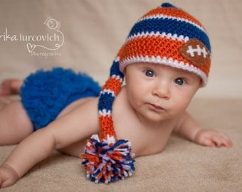Florida Gators Striped Pixie Hat, Orange and Blue Baby Hat, Football Boy Photo Prop