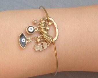 Evil Eye Hand Bangle Bracelet