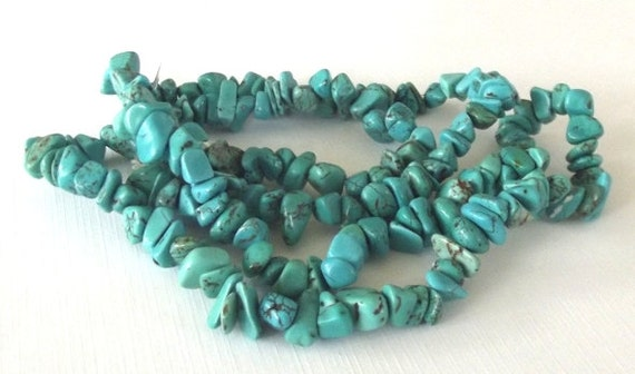 "Turquoise Magnesite Medium Chip Beads - 34"" Strand"