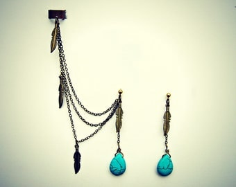 ear cuff turquoise drop and feather earrings, ear cuff with chains, tribal ear cuff, feather ear cuff, turquoise earrings