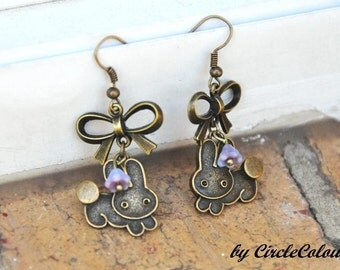 Bunny Earrings - Bunny & Bow Dangle Earrings - Antique Bronze Earrings Hook
