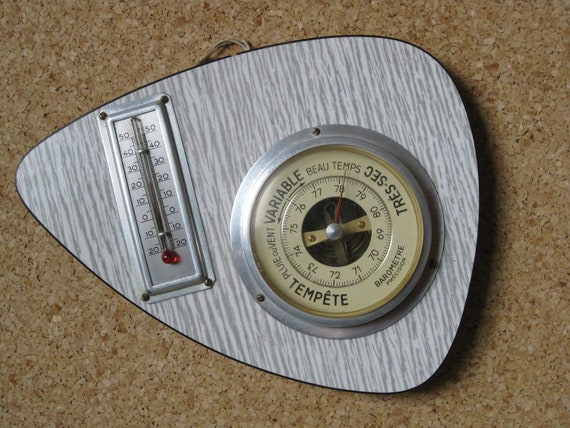 French formica thermometer & barometer mid century weather instrument