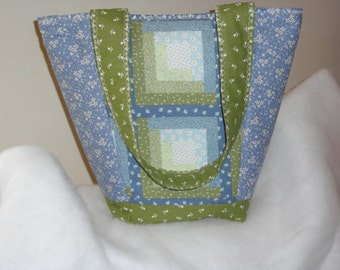 FINISHED Log Cabin Print and Flowers Out N About Tote Bag Purse by Sew Practical, Mom and Pop Craft
