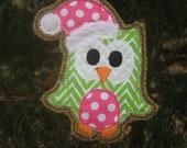 Christmas owl burlap ornament