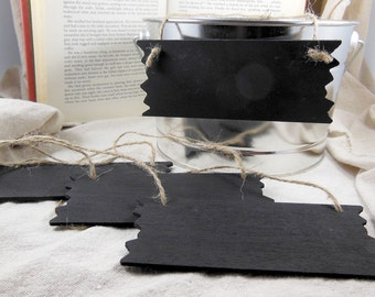 Small Chalkboard Signs with Twine- Set of 4- Small Rustic Sign - 5.5 inches by 2.25 inches