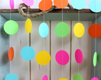 Pink, Orange, Yellow, Green, Turquoise Blue 12 ft Circle Paper Garland- Wedding, Birthday, Baby Shower, Party Decorations Bright Summer