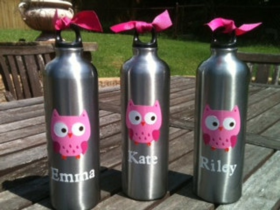 13 Personalized Aluminum owl water bottles for