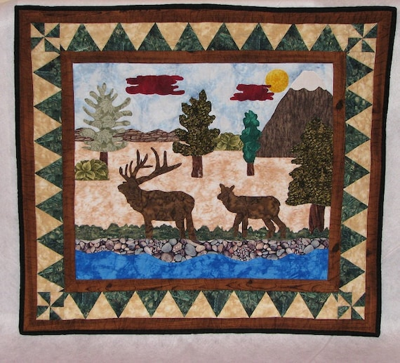 Wall quilt, home decor, wall art, wall hanging quilt, quilt, elk quilt, wall decor, scenic quilt, wildlife quilt, scenic art, applique quilt