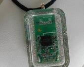 Cyberpunk Computer Art Resin Jewelry Pendant with Glitter