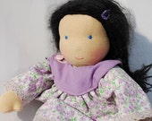 Waldorf doll girl with lilac clothes