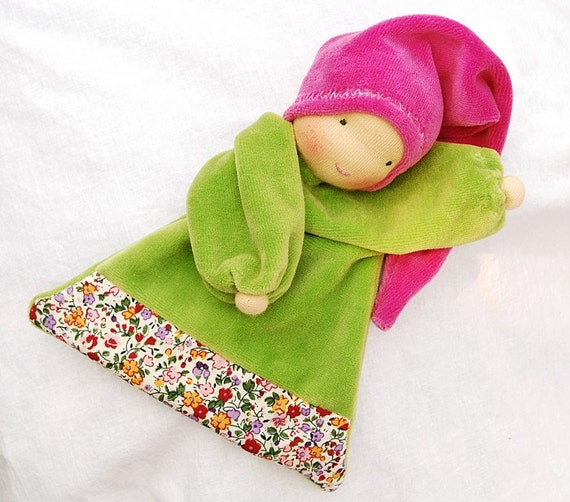 Waldorf Inspired blanket doll, green pink soft doll