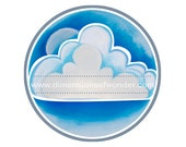 """Printable round labels 2.5"""" - 12 on a sheet of 8.5 x 11"""" - Clouds, cloud, sky, blue, fun, bright, summer, rain, weather, dreamy"""
