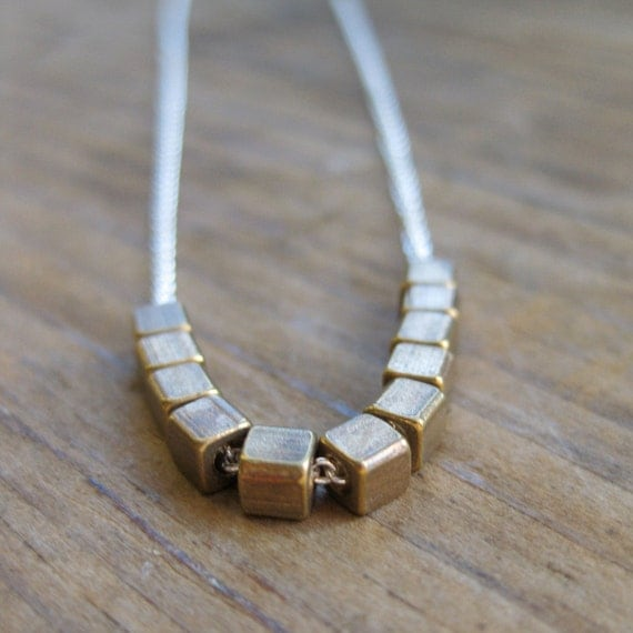 Simplicity brass SQUARES sterling necklace