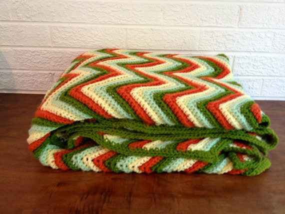 Vintage Chevron Afghan Blanket - Mint, Yellow, Burnt Orange, Olive Green Pattern