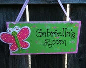 Butterfly Personalized  Kids door sign room decor wood plaque nursery baby shower birthday gift lime green children