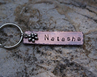 Personalized Hand Stamped Copper Key Chain with a silver flower charm