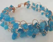 Aqua Quartz and Copper Wire Crochet Bracelet