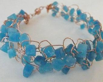 Aqua Quartz and Copper Wire Crochet Bracelet