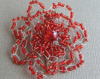 Flower Hair Clip Red Iridescent Beaded Wire Crochet