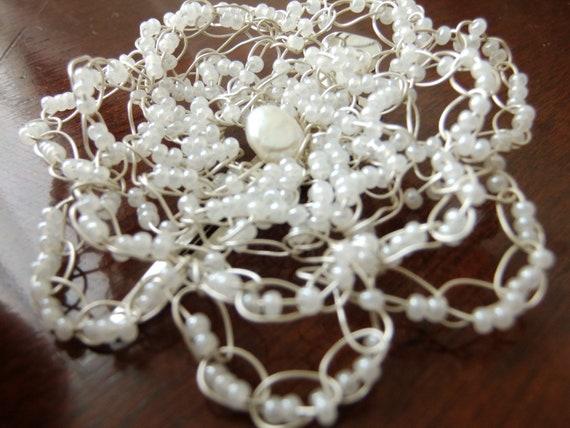 Wedding Freshwater Pearl Wire Crochet Flower Hair Clip