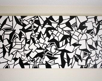 ORIGINAL black and white abstract contemporary minimalism fine art modern cubism portrait large street art urban painting