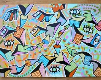 ORIGINAL original abstract large contemporary pop art fine art cubism acrylic painting
