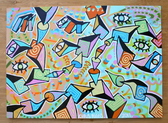 ORIGINAL original abstract large contemporary pop art fine art cubism acrylic painting