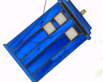 "Drunk TARDIS Stained Glass Sun Catcher (""Go Home TARDIS You Are Drunk"" Meme/Parody)"