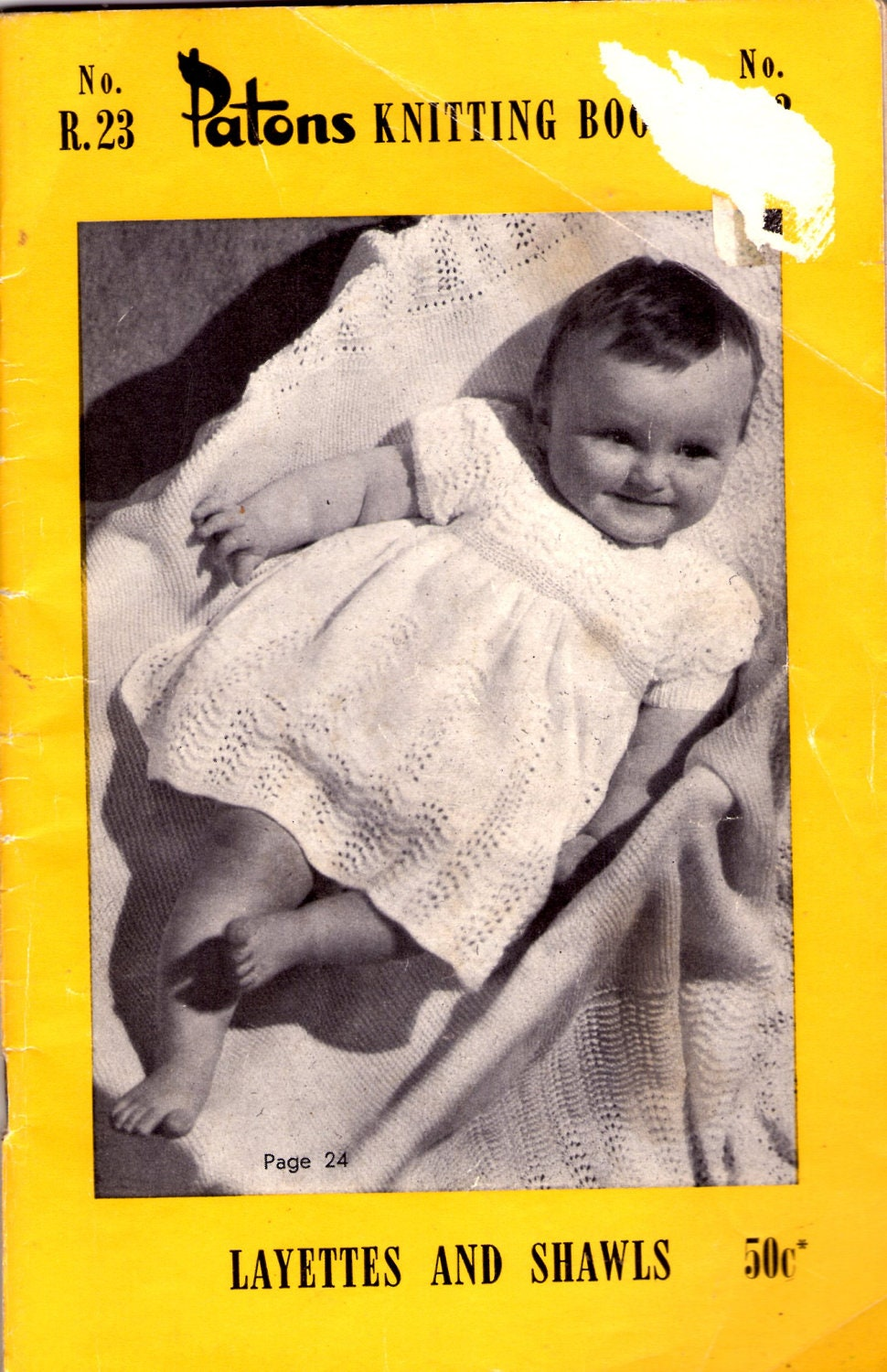 Patons Knitting Book Layettes and Shawls Baby Pattern No R 23