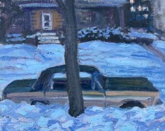 Plymouth Fury, Winter Night - original painting