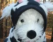 """Dog Jacket  --CUSTOM ORDER for CW-- """"I'm a Cow""""----- Dog Jacket  ----    White n Black  Fleece   ---   Dog Jacket    Costume"""