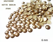 DIY Studs - 60 Gold  6 mm Round Studs - Iron On, Hot Fix, or Glue On -No' 004