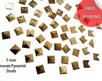 DIY Studs - 250 Bronze 7 mm  Pyramid  Square Studs - Iron On, Hot Fix, or Glue On -No' 002