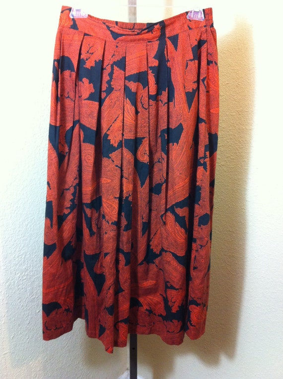 Vintage Robyn Orange and Black Skirt Size Small