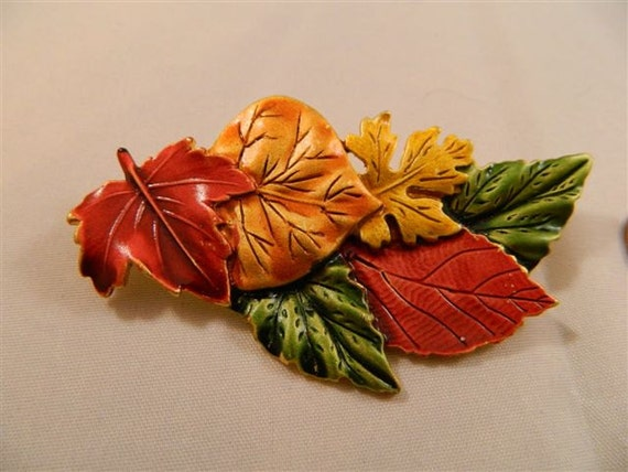 Bright Fall Leaves Vintage Pin from Tara