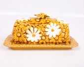 Vintage Fred Roberts Daisy Butter Dish With Lid Made in Japan Discontinued