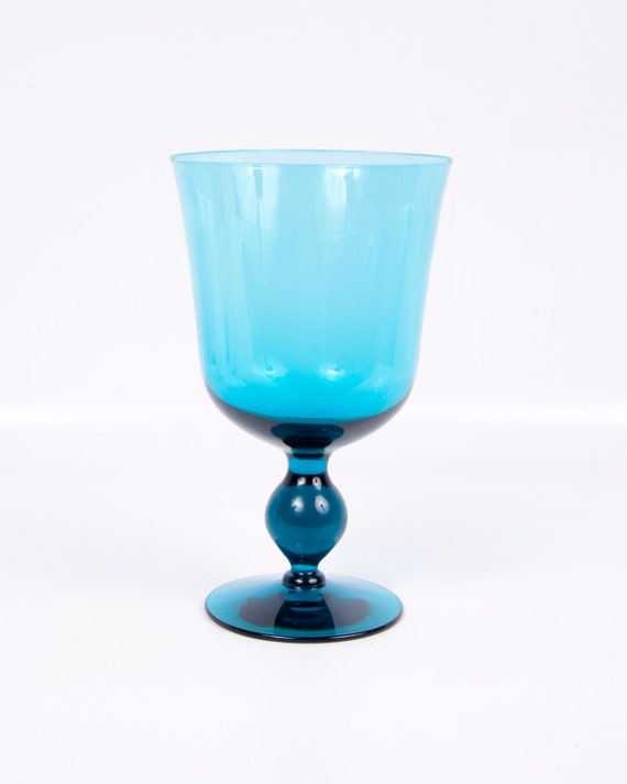 RESERVED FOR IDO Vintage Peacock Blue Morgantown Glass Goblet Candy Bowl Mid Century Decor Vase