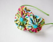 pink, blue, green, yellow double flower headband for women and girls