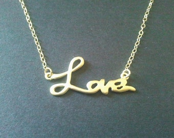 Love necklace, gold necklace, gold love jewelry celebrity jewelry  celebrity Necklace - celebrity love pendant