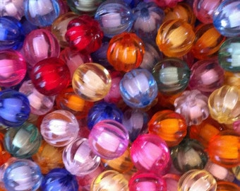 20 ct Transparent Chunky Bead in Bead Mix 12mm Faceted Pumpkin (CBBB12-T1000)