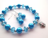 December Birthstone Aqua Turquoise Blue Pearl and Crystal Bracelet and Earring Set