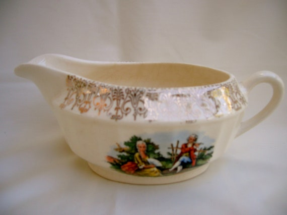 Old Creamer Cronin China Company with Courting Couple Trimmed in Gold