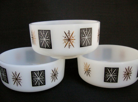 Federal Milk Glass Bowls Set of Three Mid Century Snowflakes Black and Gold