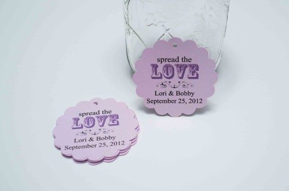 Custom Wedding Favor tags - Spread The Love, Thank you Notes, Wedding Favor tags
