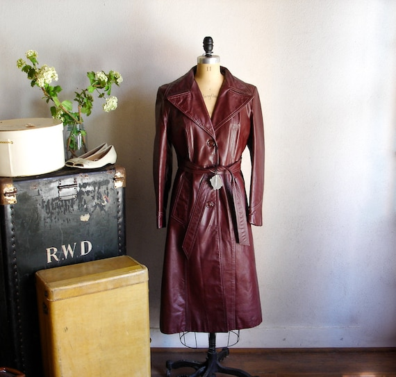 HOLD jenn0719 - 70s Ladies Leather Trench Coat Vintage 1970s Burgundy Oxblood Leather Full Length Jacket by Almondo