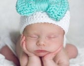 Blue Green White Baby Girl Crochet Beanie Hat with Bow, Crochet Baby Hat, baby girl hat with bow, baby winter hat, photo prop, baby beanie