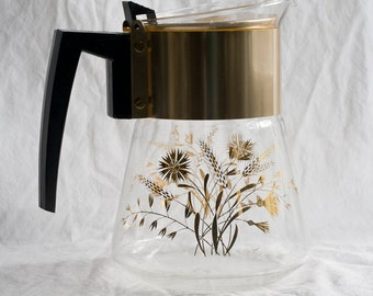 Vintage David Douglas Carafe - Pitcher - Flameproof - Glass With Wheat  And Flower Pattern