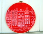 Dutch Houses Print - White on Red - Stretched in Hoop
